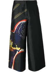 Alexander Lewis 'Christina' Jacquard Bird Trousers Black