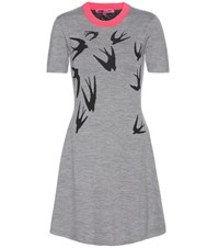 Mcq By Alexander Mcqueen Printed Knitted Wool Dress Grey