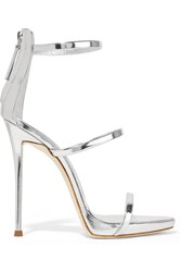 Giuseppe Zanotti Harmony Metallic Leather Sandals Silver