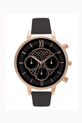 Topshop Olivia Burton Big Dial Chrono Detail Black And Rose Gold Watch