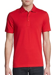 Saks Fifth Avenue Black Slim Fit Cotton Pique Polo Shirt Red