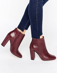 Aldo Aravia Leather Heeled Ankle Boots Bordo Leather Red
