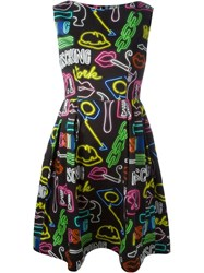 Moschino Neon Sign Print Dress Black