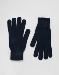 Selected Homme Gloves Leth Navy