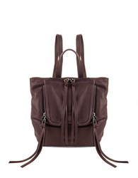 Kooba Bobbi Zip Flap Leather Backpack Dark Berry