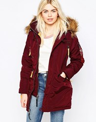 Alpha Industries Pps Coat With Faux Fur Hood Burgundy Red