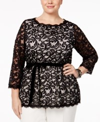 Charter Club Plus Size Lace Tunic Only At Macy's Deep Black