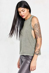 Silence And Noise Draker Cut Out Muscle Tank Top Green