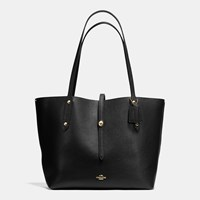Coach Market Tote In Pebble Leather Light Gold Black True Red