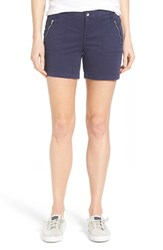 Petite Women's Caslon 'Addison' Zip Pocket Shorts Navy Peacoat