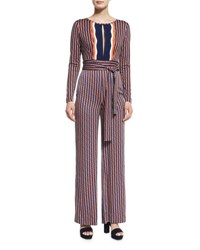 Diane Von Furstenberg Starla Long Sleeve Rickrack Stripe Jumpsuit Khaki Midnight Orange Rickrack Khaki Mi