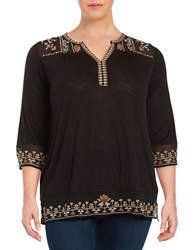 Lucky Brand Plus Embroidered Jersey Peasant Tunic Jet Black