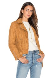Lioness Made For Milan Suede Biker Jacket Tan