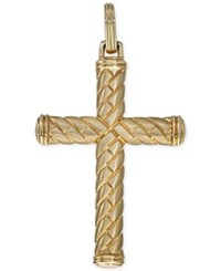 Esquire Men's Jewelry Patterned Cross Pendant In 10K Gold Only At Macy's Yellow Gold