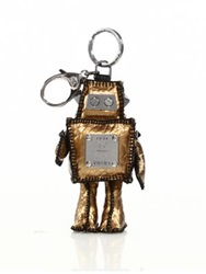 Mcm Roboter Coated Canvas Keychain Gold