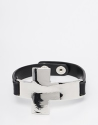Designsix Silver Cross Bracelet With Leather Detail