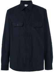 Sunspel Corduroy Twin Pocket Shirt Blue