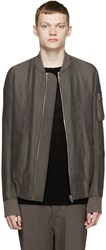 Rick Owens Grey Silk Flight Bomber Jacket