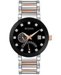 Bulova Men's Dual Time Diamond Accent Two Tone Stainless Steel Bracelet Watch 44Mm 98D129 Two Tone