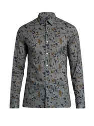Lanvin Button Cuff Abstract Print Cotton Poplin Shirt Grey Multi