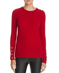 Bloomingdale's C By Button Crewneck Cashmere Sweater Red