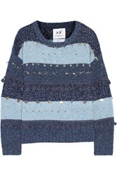 Banjo And Matilda Trinket Embellished Striped Chunky Knit Sweater Blue