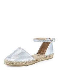 Neiman Marcus Made In Spain Sabrina Leather Espadrille Flat Silver