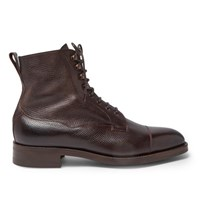 Edward Green Galway Cap Toe Grained Leather Boots Brown