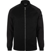 Only And Sons River Island Mens Black Nylon Sleeve Bomber Jacket