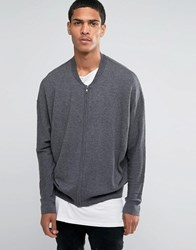 Asos Oversized Bomber With Alpaca Charcoal Grey