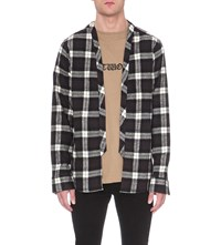 424 Checked Cotton Shirt Black White Plaid