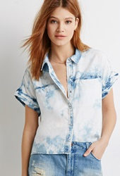 Forever 21 Life In Progress Bleached Chambray Shirt Denim Washed