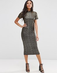 Motel Wavery Midi Dress In Shimmer Fabric Black Gold