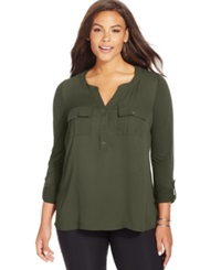 Inc International Concepts Plus Size Mixed Media Blouse Olive Drab