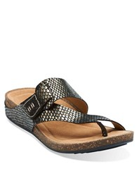 Clarks Perri Coast Patent Leather Thong Sandals Pewter