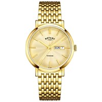 Rotary Gb05303 03 Men's Windsor Day Date Mesh Bracelet Strap Watch Gold