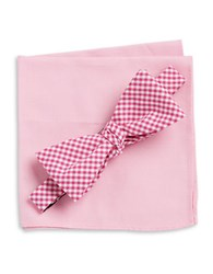 Tallia Orange Gingham Bow Tie And Pocket Square Set Pink
