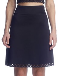 Susana Monaco Fit And Flare Laser Cut Skirt Black
