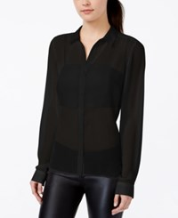 Material Girl Juniors' Sheer Button Front Blouse With Bralette Only At Macy's Caviar Black
