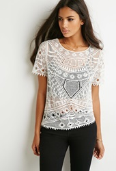 Forever 21 Mesh Paneled Crochet Top Cream
