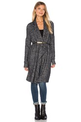 Velvet By Graham And Spencer Dejavu Long Sleeve Front Draped Cardigan Charcoal