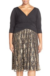 Plus Size Women's Sangria Jersey And Lace Dress