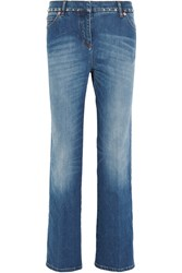 Valentino Studded Cropped Mid Rise Boyfriend Jeans Mid Denim