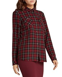 Bcbgeneration Plaid Button Up Shirt Wine Red