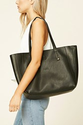 Forever 21 Faux Leather Tote Bag Black
