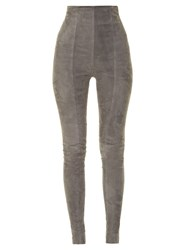 Balmain High Rise Skinny Leg Suede Trousers Grey