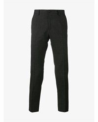 Dolce And Gabbana Wool Cotton Blend Tailored Trousers Grey White
