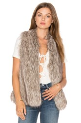 Cupcakes And Cashmere Rosette Faux Fur Vest Gray
