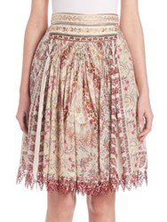 Etro Tiered Floral Print Skirt Apricot Rose