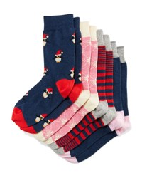 Neiman Marcus Four Pair Wardrobe Sock Set Assorted Navy